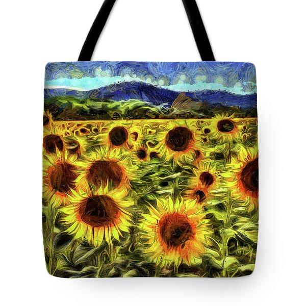 Sunflower Field Van Gogh Tote Bag