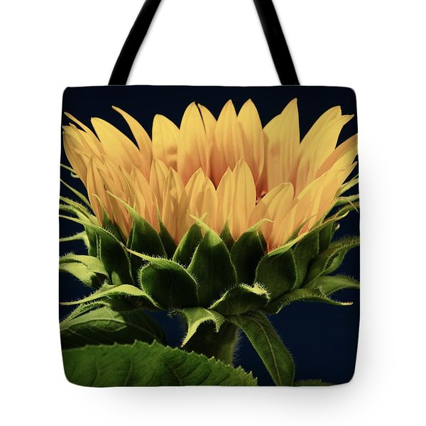 Tote Bag featuring the photograph Sunflower Foliage And Petals by Chris Berry