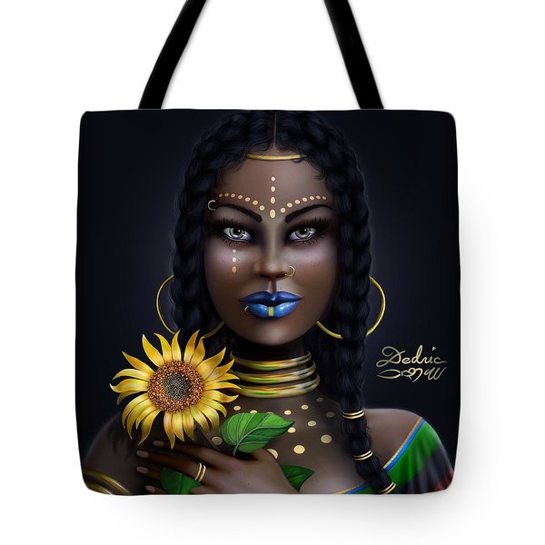 Tote Bag featuring the digital art Sunflower Goddess  by Dedric Artlove W