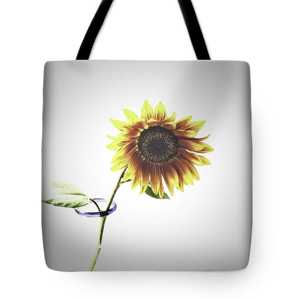 Sunflower In A Clear Vase Tote Bag