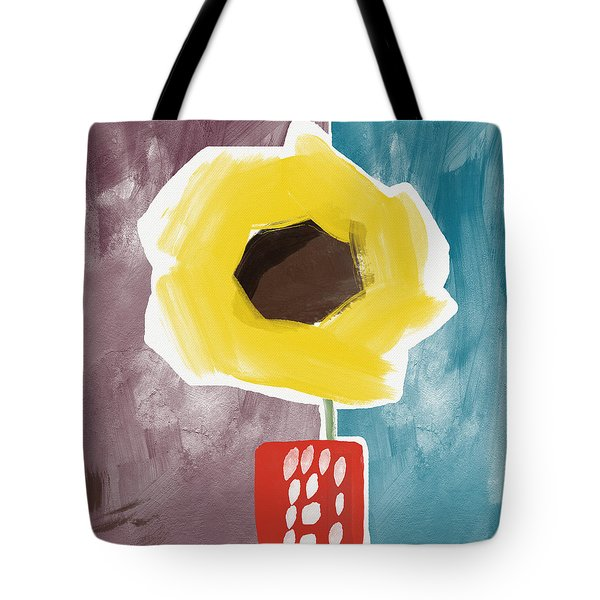 Sunflower In A Small Vase- Art By Linda Woods Tote Bag