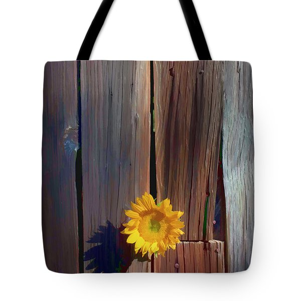 Sunflower In Barn Wood Tote Bag