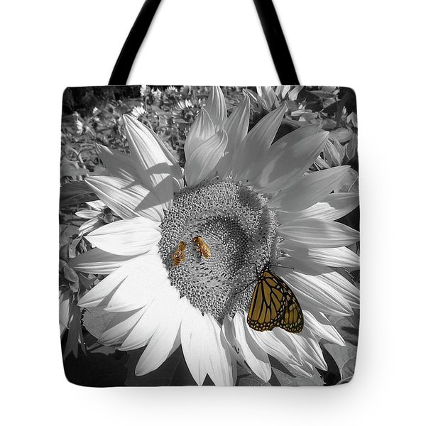Sunflower In Black And White Tote Bag