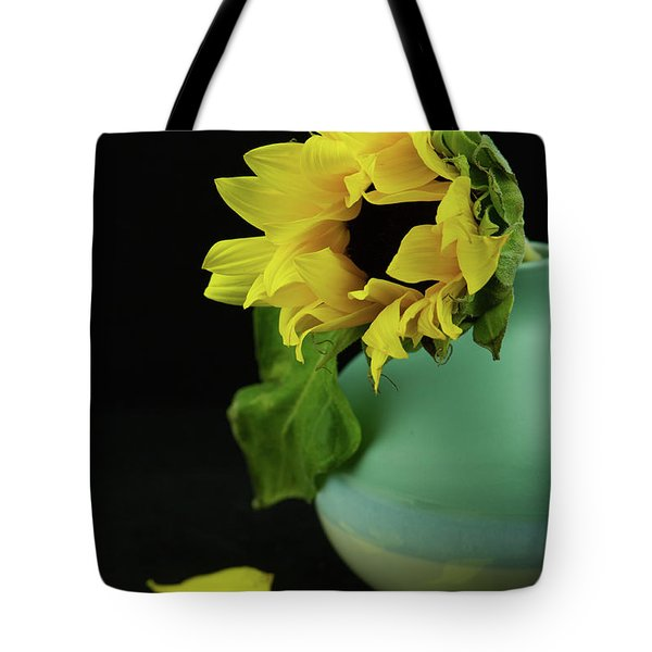 Sunflower In Blue Pottery Tote Bag