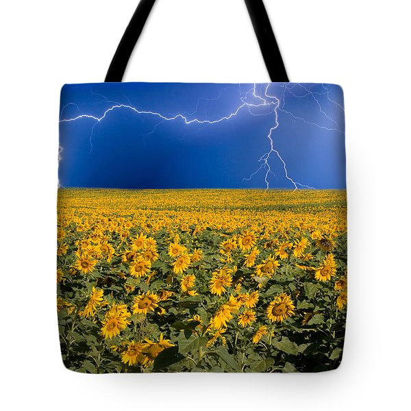 Tote Bag featuring the photograph Sunflower Lightning Field  by James BO  Insogna