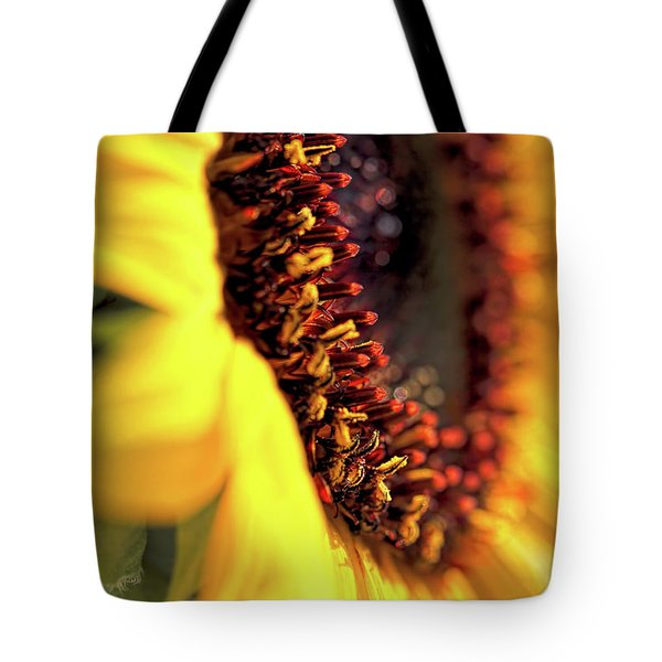 Tote Bag featuring the photograph Sunflower Macro by Jennie Marie Schell