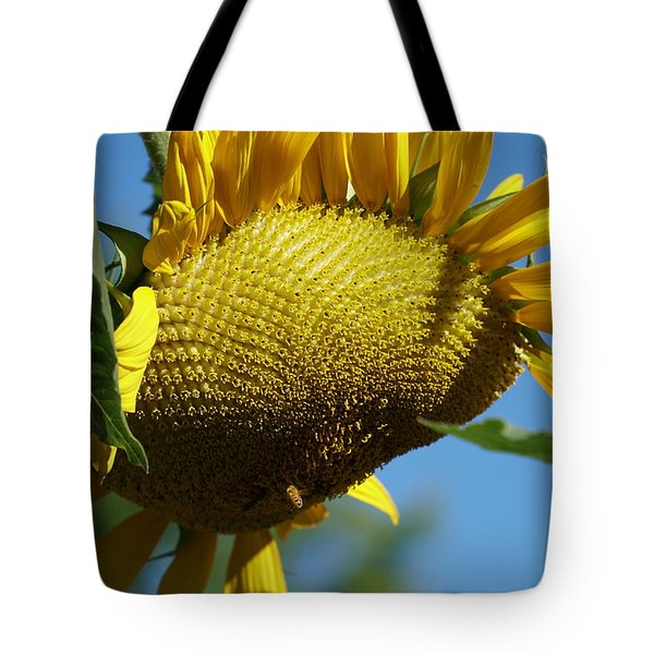 Sunflower, Mammoth With Bees Tote Bag
