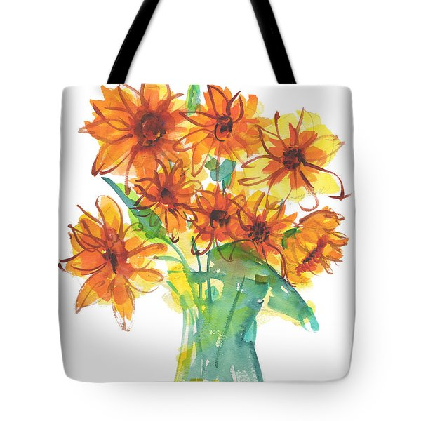 Sunflower Medley II Watercolor Painting By Kmcelwaine Tote Bag