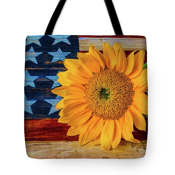 Sunflower On American Flag Tote Bag