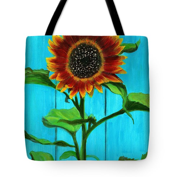 Sunflower On Blue Tote Bag