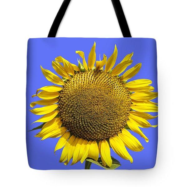 Sunflower On Blue Tote Bag