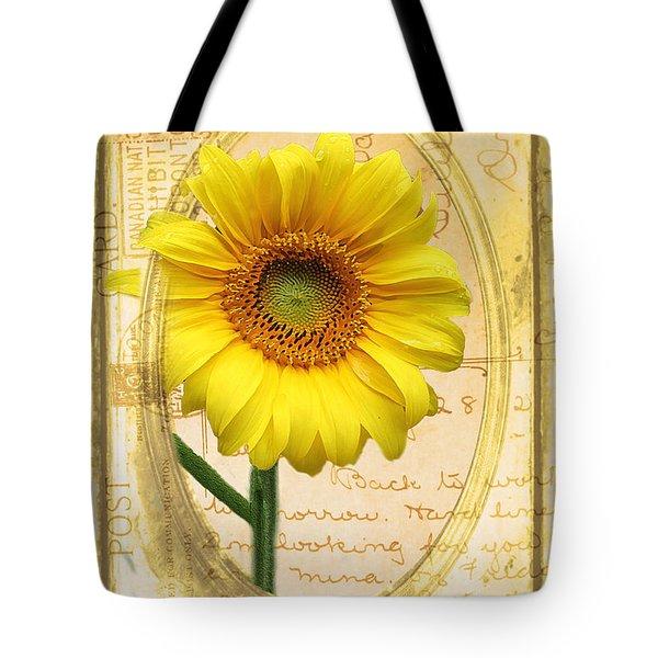 Sunflower On Vintage Postcard Tote Bag by Nina Silver