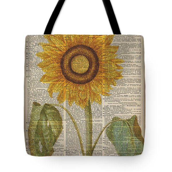 Sunflower Over Dictionary Page Tote Bag