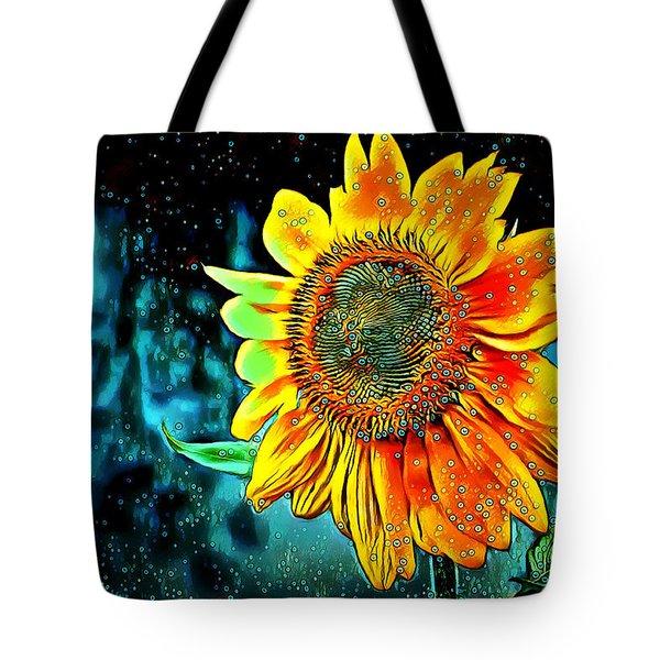 Tote Bag featuring the digital art Sunflower Rain by Pennie McCracken