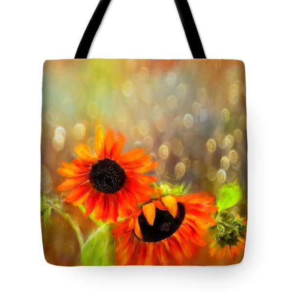Sunflower Rain Tote Bag