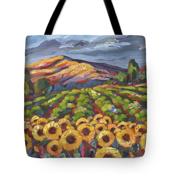 Tote Bag featuring the painting Sunflower Ranch by Shelli Walters