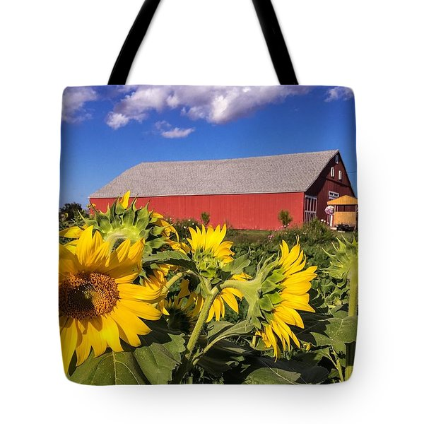 Sunflower Red Barn Tote Bag