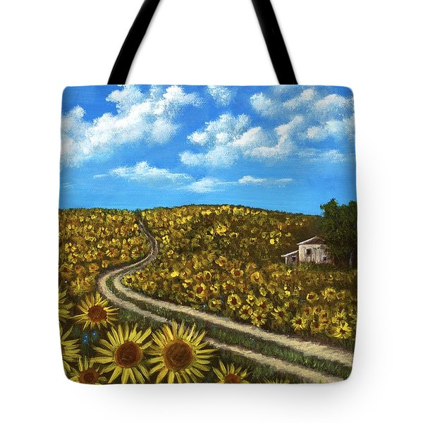 Tote Bag featuring the painting Sunflower Road by Anastasiya Malakhova