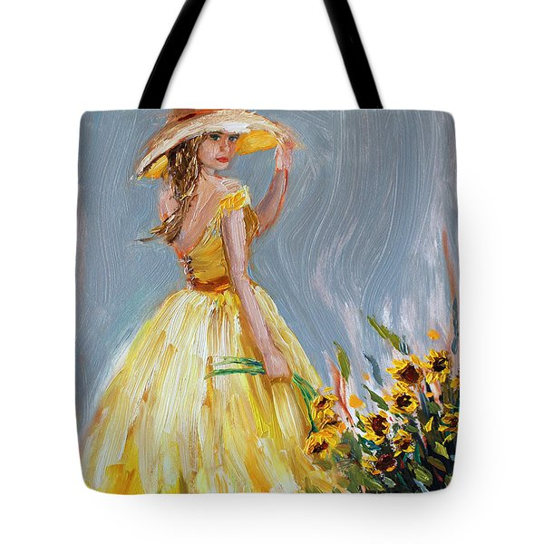 Tote Bag featuring the painting Sunflower Seduction by Jennifer Beaudet