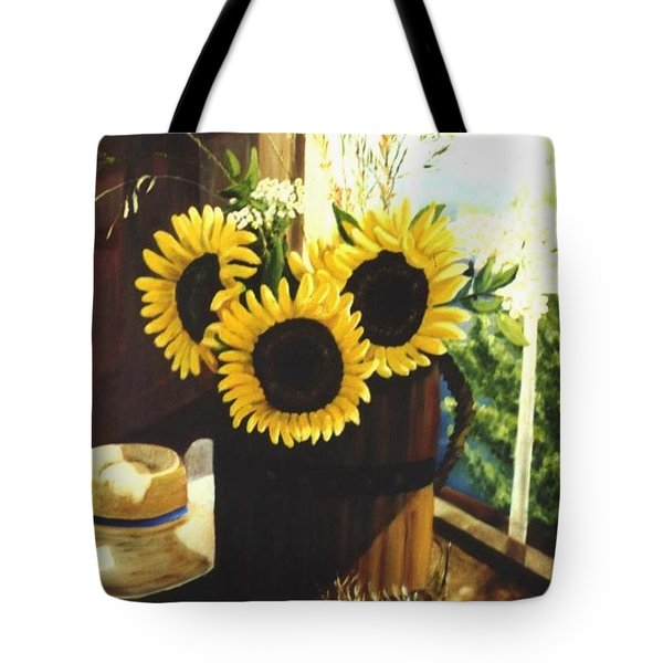 Tote Bag featuring the painting Sunflower Sill by Renate Nadi Wesley