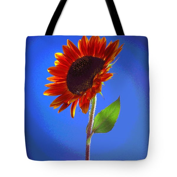 Tote Bag featuring the photograph sunflower Solitaire by Joyce Dickens