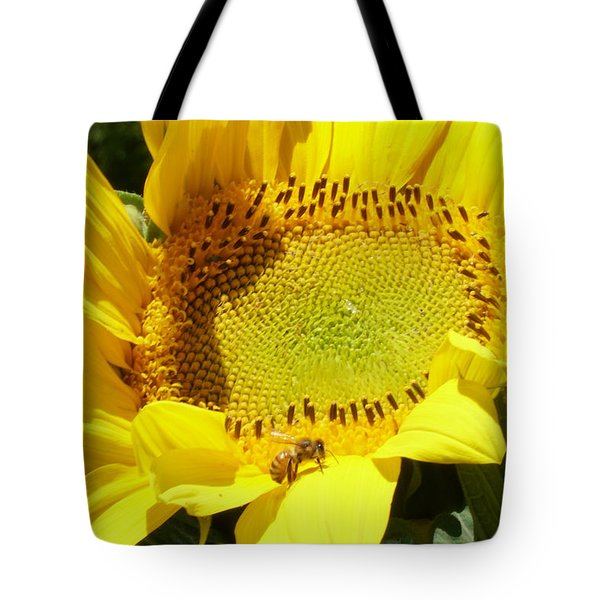 Sunflower With Honeybee Tote Bag