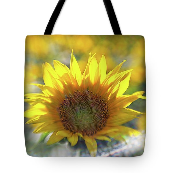 Sunflower With Lens Flare Tote Bag
