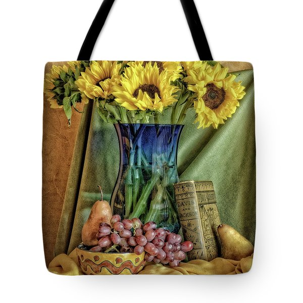 Sunflowers And Blue Vase Tote Bag