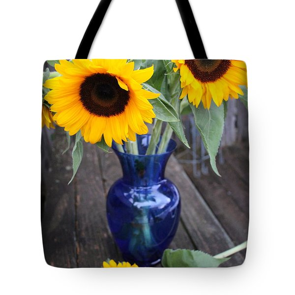 Sunflowers And Blue Vase - Still Life Tote Bag