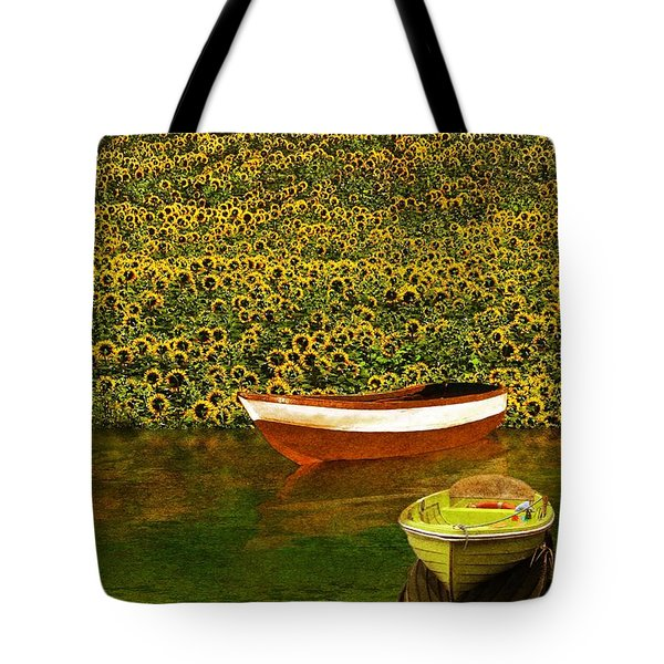 Sunflowers And Boats Tote Bag