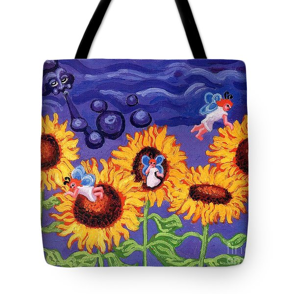 Sunflowers And Faeries Tote Bag by Genevieve Esson