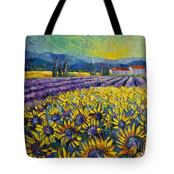 Sunflowers And Lavender Field - The Colors Of Provence Tote Bag