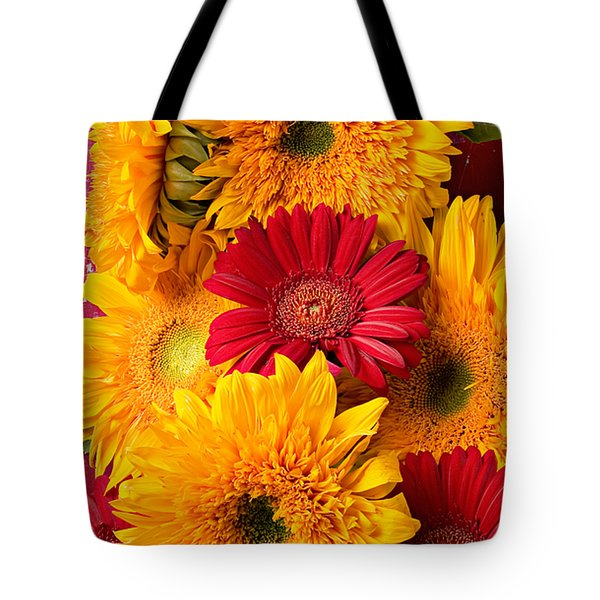 Sunflowers And Red Mums Tote Bag