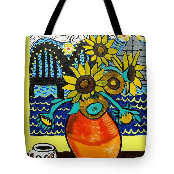 Sunflowers And Starry Memphis Nights Tote Bag