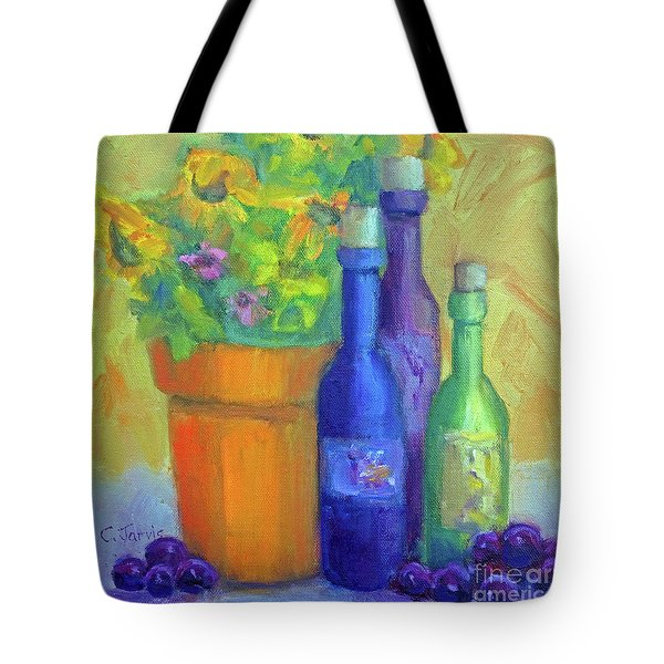 Sunflowers And Wine Tote Bag