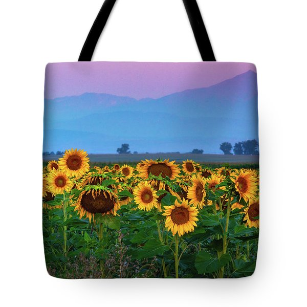 Tote Bag featuring the photograph Sunflowers At Dawn by John De Bord