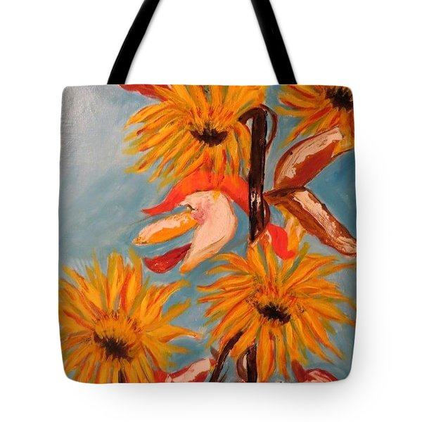 Sunflowers At Harvest Tote Bag