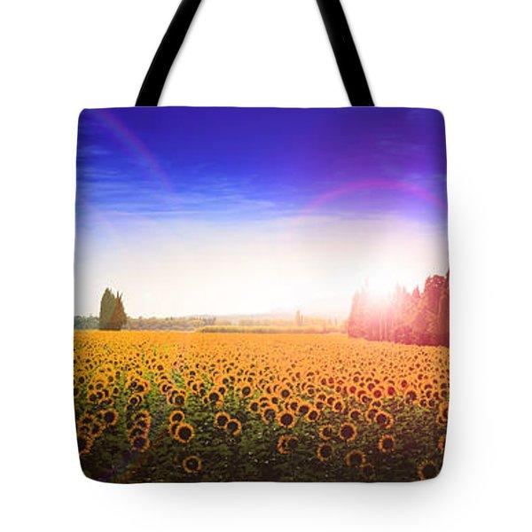 Sunflowers Await The Morning Sun Tote Bag