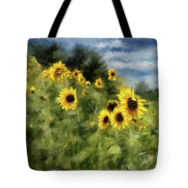 Sunflowers Bowing And Waving Tote Bag