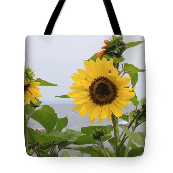 Sunflowers By The Ocean Tote Bag