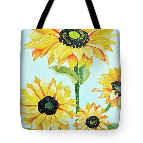 Tote Bag featuring the painting Sunflowers  by Donna Blossom
