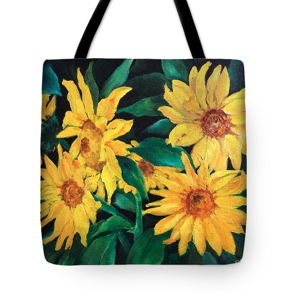 Tote Bag featuring the painting Sunflowers by Ellen Canfield