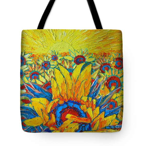 Sunflowers Field In Sunrise Light Tote Bag