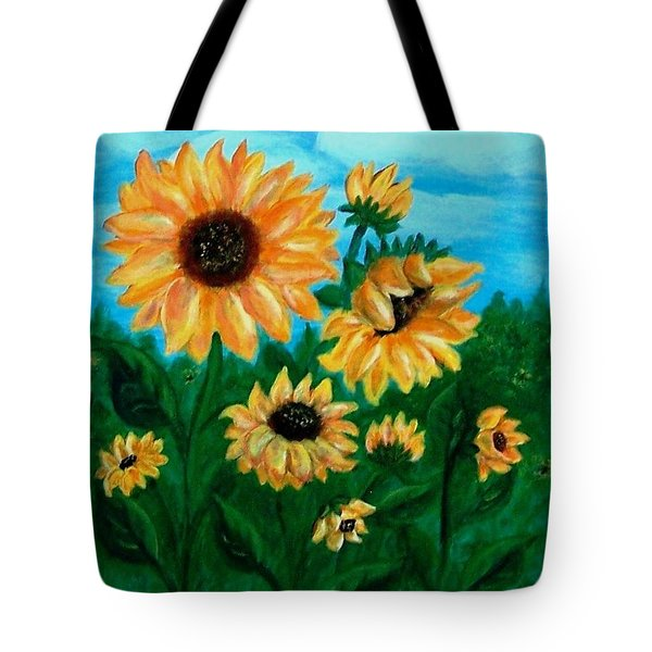 Tote Bag featuring the painting Sunflowers For Mom by Sonya Nancy Capling-Bacle