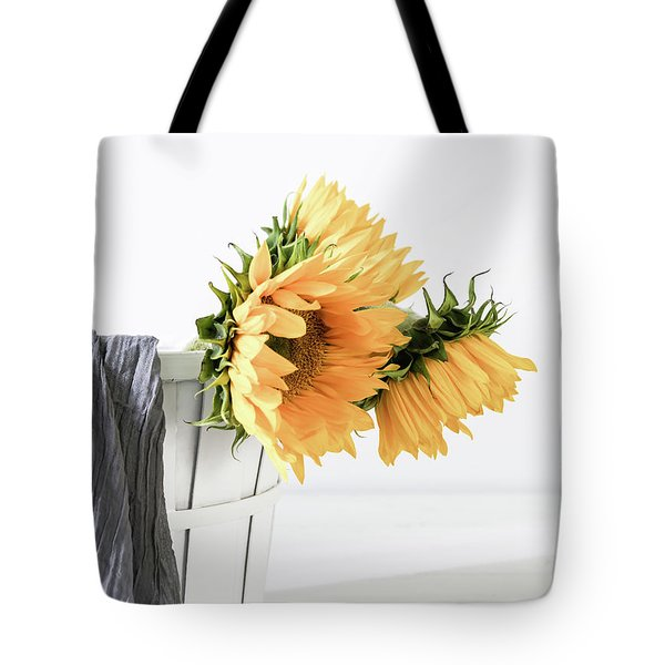 Tote Bag featuring the photograph Sunflowers In A Basket by Kim Hojnacki