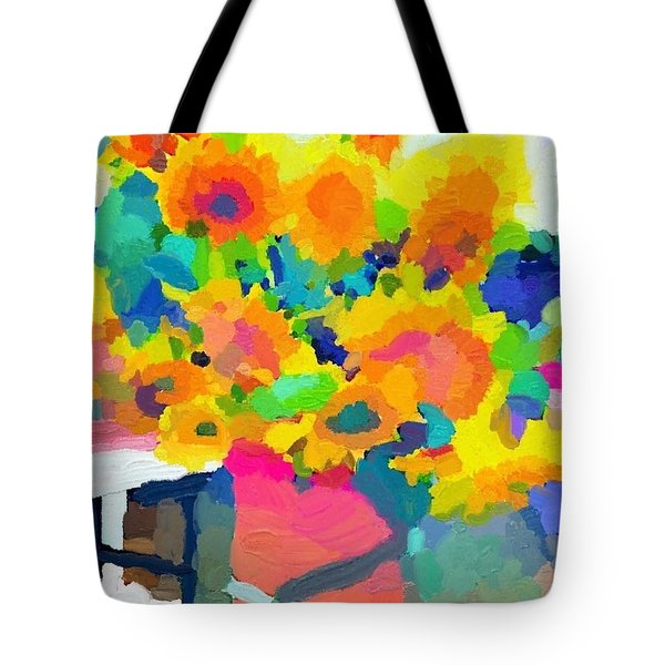 Sunflowers In A Bucket At Rockport Farmers Market Tote Bag by Melissa Abbott