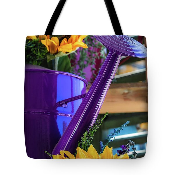 Tote Bag featuring the photograph Complementary Sunflowers by Laura Roberts