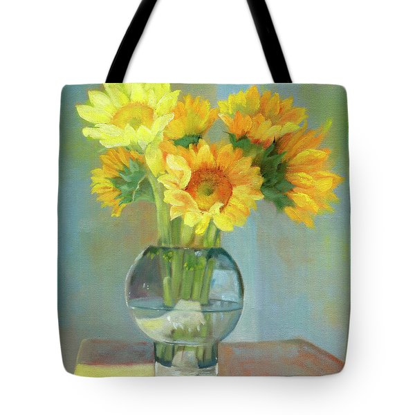 Tote Bag featuring the painting Sunflowers In A Glass Vase Number One by Marlene Book