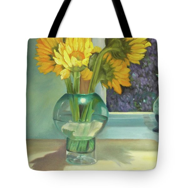 Tote Bag featuring the painting Sunflowers In A Glass Vase Number Three by Marlene Book