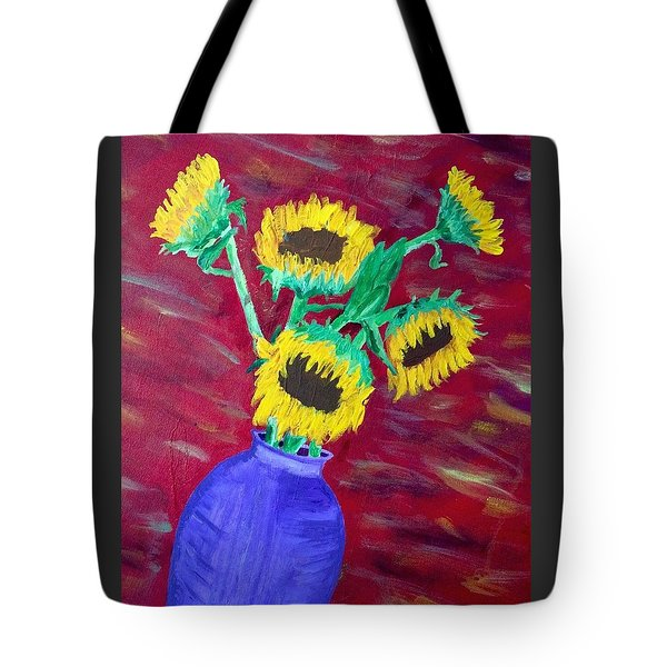 Sunflowers In A Purple Vase Tote Bag by Brenda Pressnall